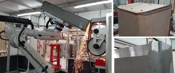 ROBOT: Robotic cells for beveling and blending welds, finishing of different parts, as well as preparation for painting.